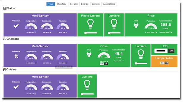 Exemple d'écran de Jeedom - gestion de périphériques