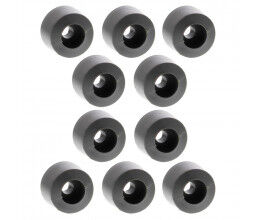 Lot de 10 pieds d'amortissement 19 mm circulaire en PE, gris, 2BA