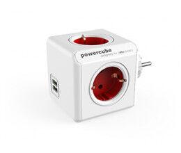 Bloc Multiprise Compact (4 Prises + 2 USB) Rouge - Allocacoc