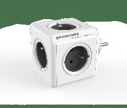 Bloc multiprise PowerCube original avec 5 prises couleur gris - Allocacoc