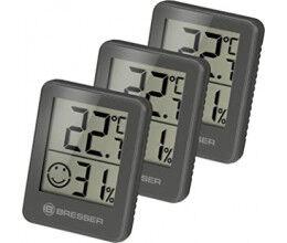 Lot de 3 Thermomètres et Hygromètres avec affichage LCD noir - Bresser