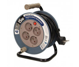 Enrouleur électrique 15m, 4 prises, couleur gris - Orno