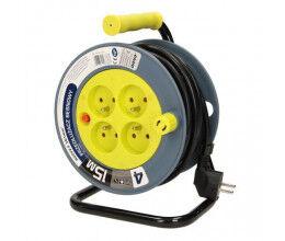 Enrouleur électrique 15m, 4 prises, couleur jaune - Orno