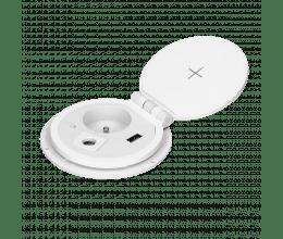 Prise encastrable blanche avec chargeur à induction, prise USB et emplacement extension - Orno