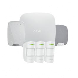 Kit d'alarme professionnelle avec clavier, sirène et 3 détecteurs version blanche - Ajax Systems