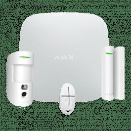 Kit d'alarme professionnel avec caméra, détecteur et télécommande blanc - Ajax Systems