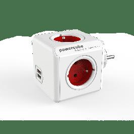 Bloc multiprise PowerCube original avec ports USB couleur rouge - Allocacoc