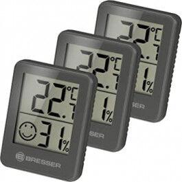 Lot de 3 Thermomètre et Hygromètre avec affichage LCD noir - Bresser