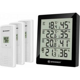 Station météo avec 4 sondes de température et d'humidité noire - Bresser