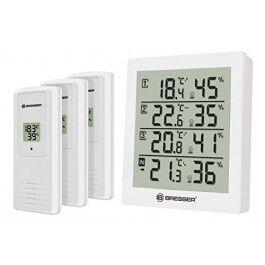 Station météo avec 4 sondes de température et d'humidité blanche - Bresser