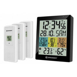 Station météo Quadro avec écran couleur et 4 mesures de température et d'humidité - Bresser