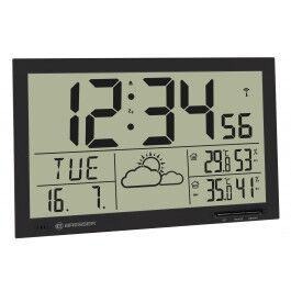 Horloge murale avec mesure de température et affichage météo couleur noir - Bresser