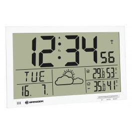 Horloge murale avec mesure de température et affichage météo couleur blanc - Bresser