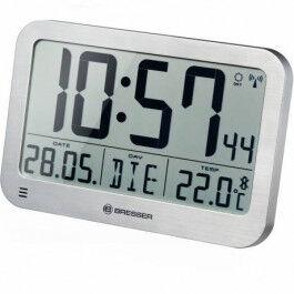 Horloge murale avec grand écran LCD et affichage de température couleur argent - Bresser