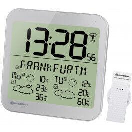 Horloge argentée avec grand écran LCD et prévisions météos sur 4 jours - Bresser