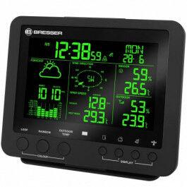 Station météo radio 5 en 1 avec Température, humidité, mesure du vent et écran couleur - Bresser