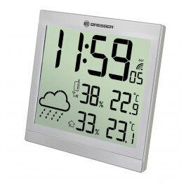 Horloge murale argentée avec grand écran LCD et prévisions météos 24h - Bresser