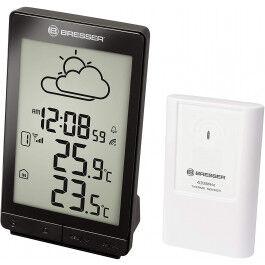 Station météo radio pilotée noire STX avec thermomètre, réveil et grand écran LCD - Bresser