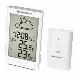 Station météo radio pilotée blanche STX avec thermomètre, réveil et grand écran LCD - Bresser