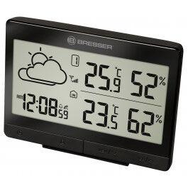 Station météo radio pilotée noire TemeoTrend avec thermomètre, hygromètre et grand écran LCD - Bresser
