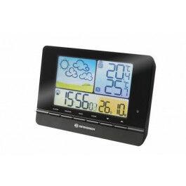 Station météo noire avec écran couleur, calendrier, thermomètre et hygromètre - Bresser