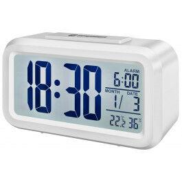 Réveil digital avec affichage de température et d'humidité couleur blanc - Bresser