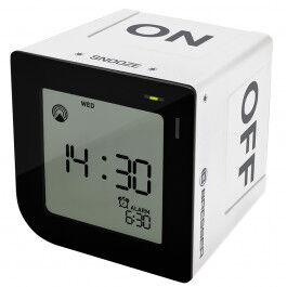 Réveil digital radio piloté format carré avec touches tactiles couleur blanc - Bresser