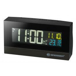 Réveil digital radio piloté avec écran couleur et affichage de température - Bresser