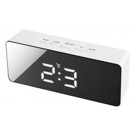 Réveil digital radio piloté avec écran miroir et affichage de température - Bresser