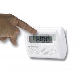 Réveil digital couleur blanc avec écran LCD et format compact - Bresser