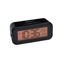 Réveil digital noir radio piloté avec rétroéclairage ambré et température - Bresser