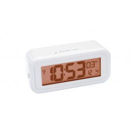 Réveil digital blanc radio piloté avec rétroéclairage ambré et température - Bresser