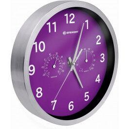 Horloge murale 25cm MyTime avec température et humidité couleur violette - Bresser