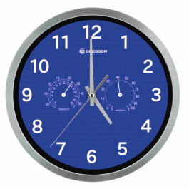 Horloge murale 25cm MyTime avec température et humidité couleur bleue - Bresser