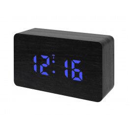 Réveil digital radio piloté aspect bois noir et écran LED Bleu - Bresser