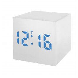 Réveil digital radio piloté format carré finition bois blanc et écran LED bleu - Bresser
