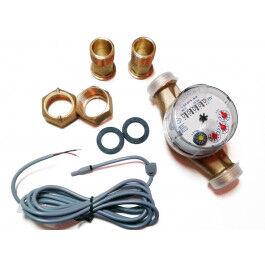 Compteur d'eau chaude avec sortie impulsion (1 imp. / 1 litre)