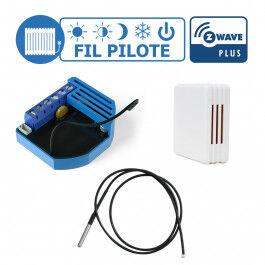 Kit gestion de chauffage fil pilote Z-Wave avec sonde de température et boiter mural  - Qubino