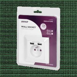Prise murale encastrée 3680W avec 2 ports USB - ORNO