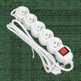 Rallonge multiprise 5 prises avec interrupteur couleur blanche - Orno
