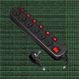 Multiprise avec 6 prises et un interrupteur par prise avec disjoncteur surtension noire - Orno