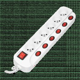 Multiprise avec 6 prises et un interrupteur par prise avec disjoncteur surtension blanche - Orno