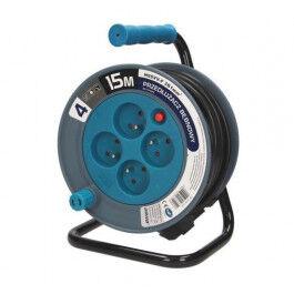Enrouleur électrique 15m, 4 prises, couleur bleu - Orno