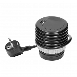 Prise encastrable pour bureau ou plan de travail avec chargeur USB couleur noir - Orno