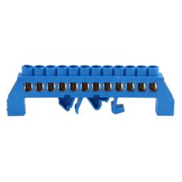 Bornier de connexion sur rail DIN 12 broches couleur bleu - Orno