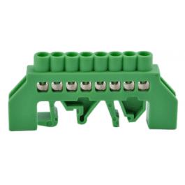 Bornier de connexion sur rail DIN 8 broches couleur vert - Orno