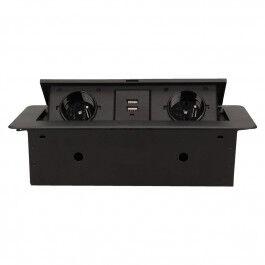 [RECONDITIONNÉ] Bloc Prises escamotable avec 2 prises 230V + 2 prises USB Noir - Orno