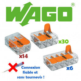 Lot de 50 borniers de connexion avec levier (14x 2 bornes + 30x 3 bornes + 6x 5 bornes) - WAGO