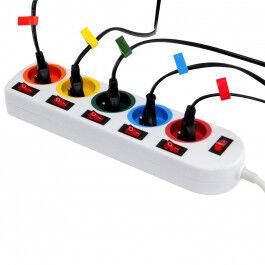 Bloc multiprise couleur avec 6 interrupteurs (un pour chaque sortie) - Wizelec