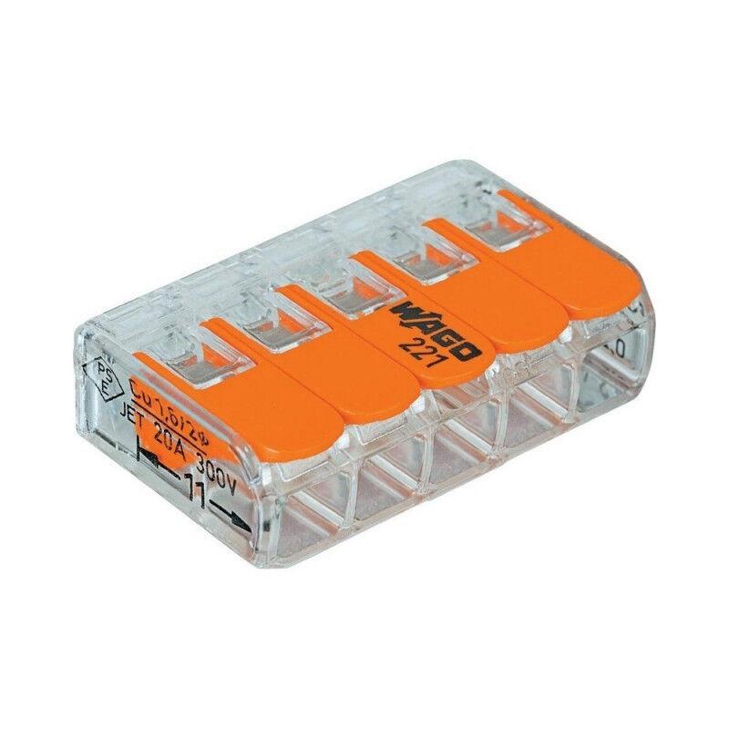 WAGO 221-415 Bornes de raccordement compactes avec leviers pour 5/conducteurs de 0,14 /à 4/mm/² Coloris orange